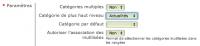 Paramètres des catégories du module actualités