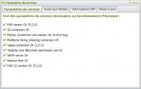 Paramètres serveur : vérification de la configuration