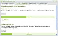 Paramètres serveur : accès aux fichiers